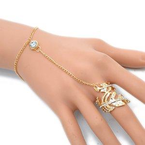 Nouveau Bracelet Chaîne Esclave Mode avec Anneau pour Femmes CZ Feuille Anneau de Fête Femelle