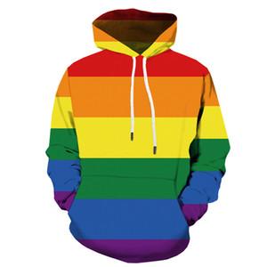 레인보우 컬러 까마귀 서양 남자 재미 lgbt 3D 후드 스웨터 하라주쿠 스웨터 스웨터 Dropshipping를 옷 Ypf474