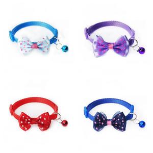 Pet Dog Cat Collar Регулируемая Dot Печать Doggy Bow Tie с колоколом Мода Домашние галстука Ошейники Горячие Продажа 1 15sr E1