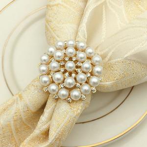 Golden Luxury Pearl fiore della lega di tovagliolo con fibbia Rings Hotel per nozze decorazione da tavolino AS1032 100pcs