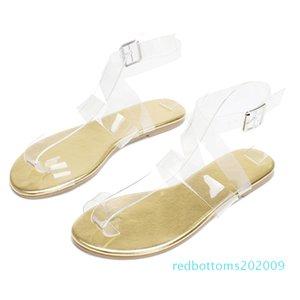 Summer 2020 Designer Women PVC Clear Low Heels Flats Sandals Gold Snake Print Flat Sandals Flip Flops Plus Size Shoes r09