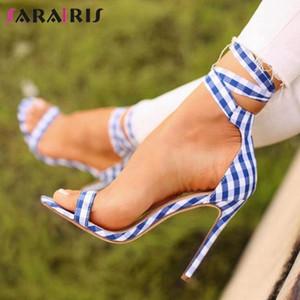 SaraIris Moda Fino Salto Alto Sandálias Mulheres do partido do doce rasos Sandálias Ladies Verão New elegante Data doce Guingão Shoes