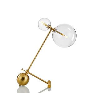 Nordic mesa minimalista moderna Lámparas de mesa de salón bola de cristal blanco hierro luz de vidrio transparente bola redonda de lectura lámpara de escritorio