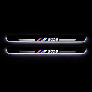 Acrylique Moving LED Bienvenue Pédale voiture Plaque Pédale Porte Scuff Sill Pathway Lumière pour 5008 2020 2020