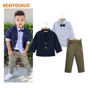 Children Clothing 2018 New Fashion Gentlemen Kids Casual Boys Clothing Sets Coat Jacket T-shirt Pants 3 Pcs Sports Suit Sets Y190518