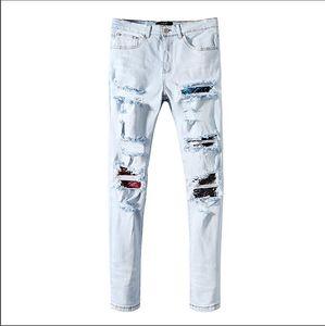 Men's Designer Brand AMI Jeans Classic Hip Hop Pants Designer New Jeans Distressed Ripped Biker Jean Slim Fit Motorcycle Denim Jeans