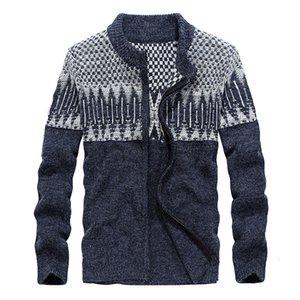 New Fashion Lã Sweater Men Casual Zippers Sweatercoat Outono Inverno Cardigan Men Knitwear Grey camisola de malha Big Tamanho 3XL