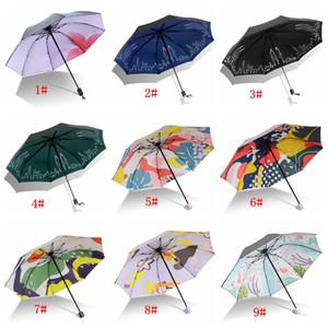 39 أنماط مشمس ممطر مظلة الكتابة على الجدران طباعة ثلاثة للطي حماية من الأشعة فوق شمسية دائمة صامد للريح ماء المظلات مخصص DBC BH3677