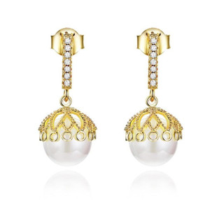 SCE608 Fashion Big Bead Gold Pearl Lace Elegance 925 SilverJewelry for Girl Women Stud Earrings