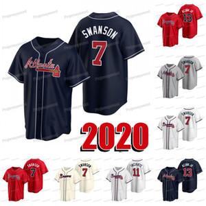 Atlanta 2020 New Season 7 Dansby Jersey Swanson 11 Ender Inciarte 13 Ronald Acuña Jr. Todo cosido para mujer para hombre de encargo de la juventud jerseys de béisbol