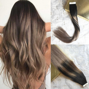 Luxury Quality Virgin Remy Human Hair Tape in Extensions Balayage Highlights Black with Ash Blonde Invisiable Glue Tape on Hair Extensions