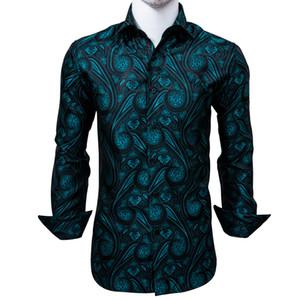 Рубашки с длинным рукавом шелкового Мужские жаккардовые тканая Черный Синий Paisley Тонкий футболки платье партии Свадьба Быстрая доставка Изысканный моды CY-0005