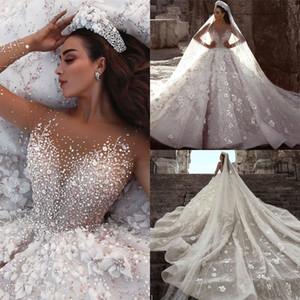 Luxuoso Dubai Árabe Nova Moda Lace Ball Gowns Vestidos de Casamento Mangas Compridas Flores 3D Beading Vestido de Noiva Vestidos de Noiva BC0151