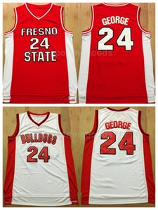 NCAA College Fresno State Bulldogs Paul George Jersey 24 Hommes Université Uniforme de basket-ball Équipe Uniforme Rouge Blanc pour les fans de sport