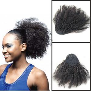"""At kuyruğu Insan Saçı Moğol Afro Kinky Kıvırcık At Kuyruğu Remy 4B 4C Klipler Uzantıları Doğal Saç Demetleri Hiç Güzellik 10 """"ila 24"""""""