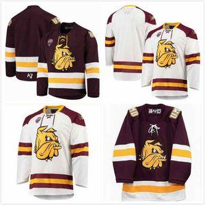 Custom Minnesota Duluth Bulldogs Jade Miller Jersey 26 Lucas Loheit 16 Jarod Hilderman 12 Quinn Olson 15 Hunter Lellig 8 Ben Almquist 38 S-3X