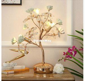 Avrupa Çiçek Kristal Masa Işık D45cm Nordic K9 Masa Lambası Salon Işık Yatak Odası Aydınlatma AC LED Masa Lambası Seramik Gül Desl Lambası
