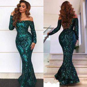Vintage arabischen Stil Emerald Green Mermaid Abendkleider Sexy Schulterfrei Elegante Lange Prom Kleider Lace Sequined Pageant Trägt BC0703