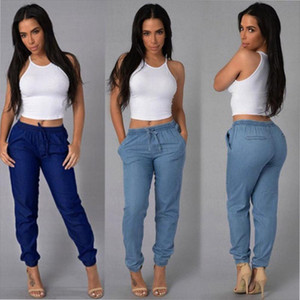 Womens Elastic Waist Casual Pants Jeans For Women With High Waist Push Up Large Size Casual Blue Denim Pants Jeans Denim