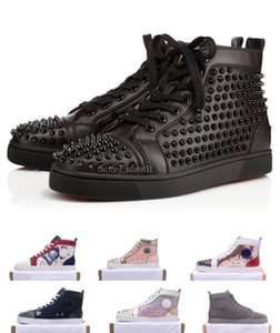 2019 ACE Red Designer inferior Luxo Marca Studded Spikes Flats sapatos casuais sapatos para os amantes de homens e mulheres partido Sneakers couro genuíno
