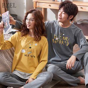 De Manga Larga BZEL Nuevas amantes de los pijamas de las mujeres del otoño del resorte de algodón pijama hombres pareja pijamas para hombre dormir Pijama