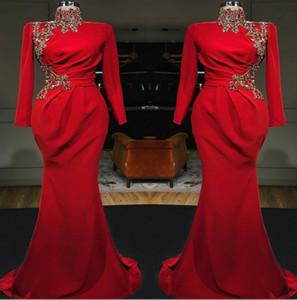 Red Arabisch High Neck Mermaid Lange Abendkleider 2019 Lange Ärmel Satin Geraffte Spitze Applique Formal Party Muslim Prom Kleider