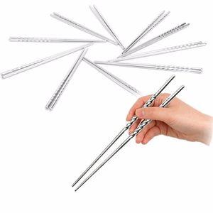 2 Unids / Par Palillos Estilo de Rosca Antideslizante Comida China Portátil Necesidad de Chop Sticks Vajilla de Acero Inoxidable
