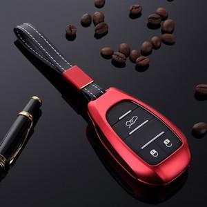 Custodia di protezione per copri chiave per chiave auto CNC con cinturino in pelle per accessori styling Alfa Romeo Giulia Stelvio