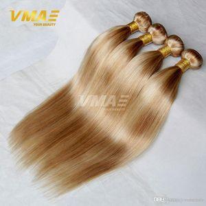 Бразильский Straight Virgin человеческих волосы 4 Связки Lot Mix Color Honey Blond 27 # Bleach Blonde 613 # бразильских человеческие волосы ткут мешок OPP