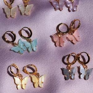2020 gioielli orecchini di goccia delle donne della farfalla del nuovo animale di modo dolce orecchini colorati in acrilico Dichiarazione partito delle ragazze
