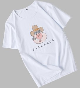 2020 Mens Designer T Shirts Letters Animal Printed Short Sleeves Tops Brand Fashion Style Loose Tees Cotton T Shirts Young Men