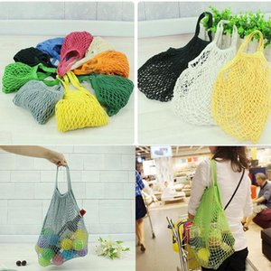 14 Color Home Storage Bag Large Size Reusable String Shopping Grocery Bag Shopper Tote Mesh Net Woven Cotton Bags Portable Shopping Bags DA