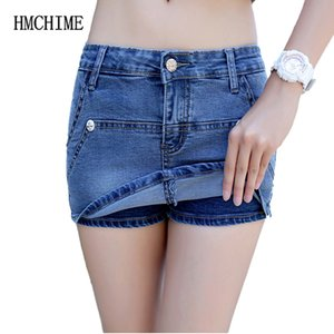 Women Denim Shorts Zipper Slim False 2 Pieces Female Skirt Shorts Fashion Colorfast Cowboy Bottoms Fitness Short Jeans HM1389