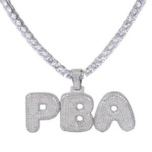 A-Z Nome Personalizado Bolha Letras Colares Pingente de Charme Para Mulheres Dos Homens de Prata de Ouro Cor Cubic Zirconia com Cadeia de Corda presentes