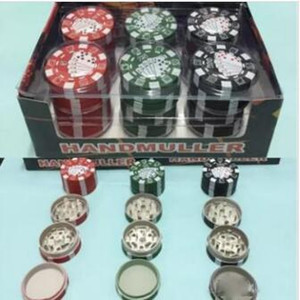 3 Layers Poker Chip Style Herb Herbal Tobacco Grinder Grinders Smoking Pipe Accessories gadget Red Green Black 12pcs lot 42.5*28mm 38g 12pcs