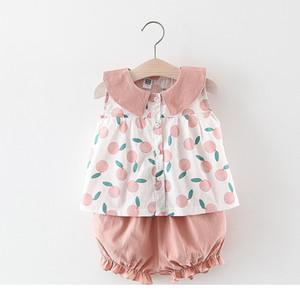 Baby-Bekleidung Kinder-Sommer-Sleeveless Obst Print Design Haustier Pankragen shirt + short Kleidungssatzsommerprinzessin-Kleidungssätze