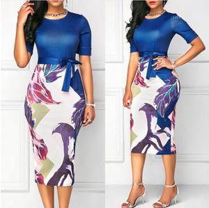 Vestido para mujer Casual New Fashion PRINT PRINT PLAZA DE MUJERES VESTIDOS EQUIPOS EQUIPOS DE CUELLO DE CUELLO SER SEELVE PATCHWORK SLIM PRINT
