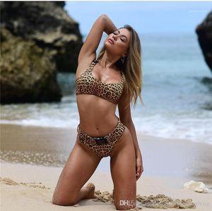 Mulheres Praia Tankinis 2PCS Sexy Lady de banho Bikini Suit Open Back maiô sexy Leopard Grain