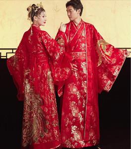 Standard Ancient China Kleidung Tang-Dynastie chinesischen Stil Hanfu Brautkleid Kleidung Frauen Bride Phoenix Kleid Männer Bräutigam Drachen Robe