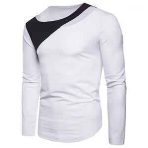 T 셔츠 패션 거짓 두 조각 티 캐주얼 대비 색 긴 소매 티셔츠 남성 의류 남성 디자이너 패널로