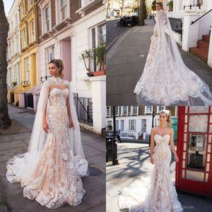 Milla Nova 2019 Champagne Abiti da sposa con l'involucro Appliqued innamorato Mermaid Abiti da sposa sweep treno pizzo Abito da sposa su ordine