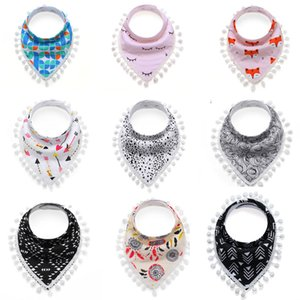 베이비 키즈 Burp Cloths 20 Design Stripes 꽃 동물 프린트 베이비 삼각형 방수 턱받이 여자면 턱받이