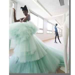 Fashion Tiered Tulle Formal Evening Dresses Celebrity Dresses robe de soiree Zipper Back 2020 Prom Dress Party Gowns