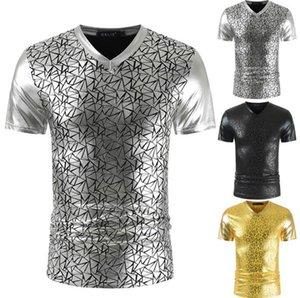 Imprimer T-shirts d'été Designer V Neck lambrissés Night Club T-shirts hommes Slim Mode Hommes T-shirts Casual géométrique brillant