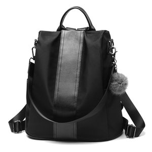Women PU Backpack With Plush Pendant Durable Adjustable Strap Oxford Cloth Anti-theft Large Capacity Zipper Casual