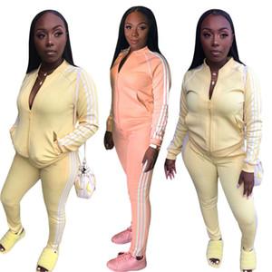 Женщины Кардиган 2 шт брюки комплект костюм работает куртка Sweatsuit полосатые гетры верхней одежды костюмы спортивный костюм падения зимней одежды 1607