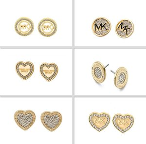 2019 Fashion Famous Designer Gold Plated Ear Studs Hot Sale Alloy Earrings Jewelry with Crystal For Women Girl Wholesale