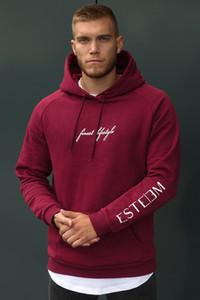 Mens ESTEEM lettere stampate felpe con cappuccio progettista di marca felpe maschile tinta unita casual palestra fitness pullover formato asiatico