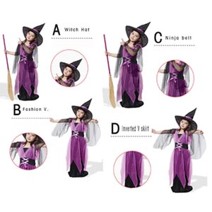 Bruxa Cosplay Set Vestido com chapéu Kid Halloween Costume Cosplay Para Boy Girl Prop Halloween Party Supplies DBC VT0711