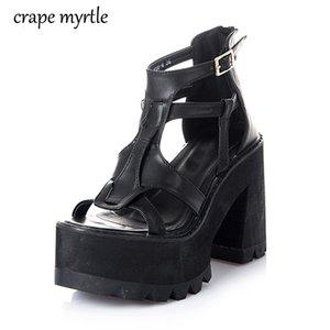 gladiator shoes High Heels black summer sandalia salto alto for women platform punk sandals YMA162 Y200702